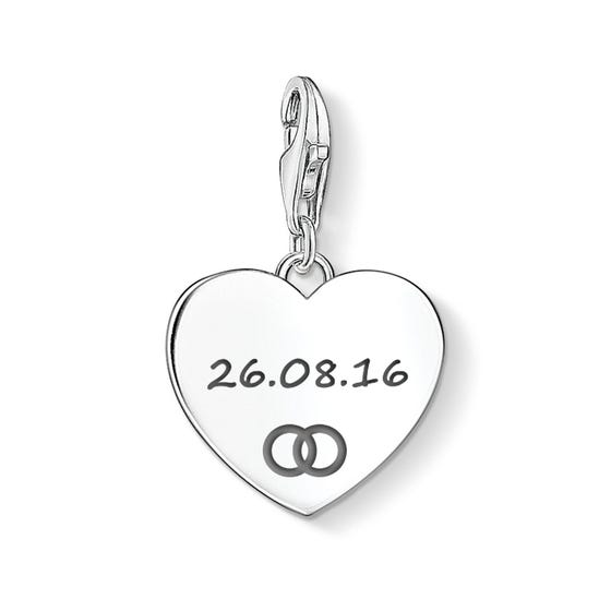 Heart Charm Engraved with Your Date & Wedding Bands Symbol