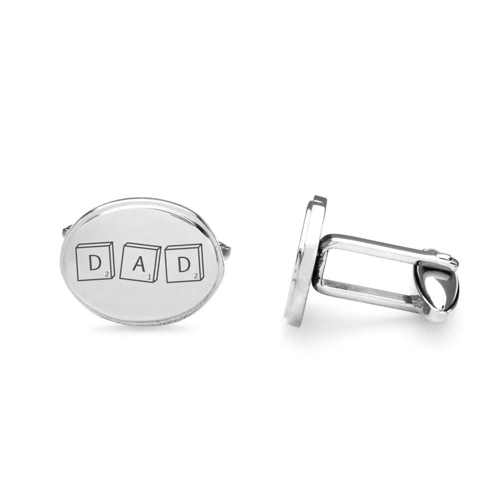John Greed Stainless Steel Oval Cufflinks Engraved with 'DAD'