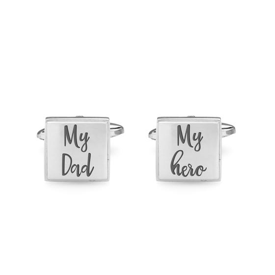 My Dad/My hero' Engraved Stainless Steel Cufflinks