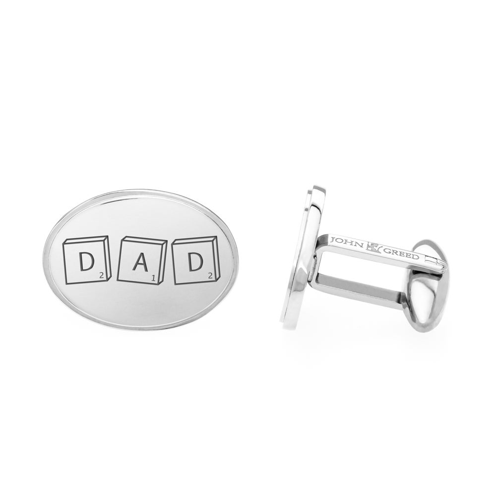 John Greed Stainless Steel Large Oval Cufflinks Engraved with 'DAD'