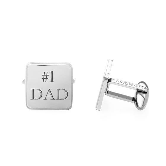 #1 DAD' Engraved Stainless Steel Large Cufflinks