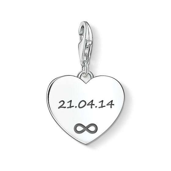 Heart Charm Engraved with Your Date & Infinity Symbol