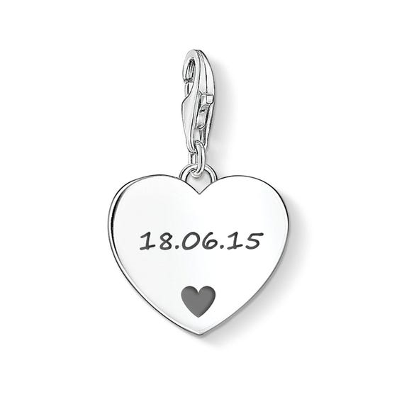Heart Charm Engraved with Your Date & Love Heart Symbol