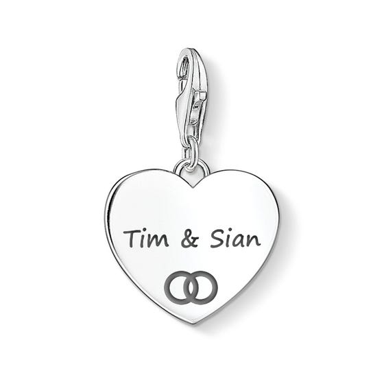 Heart Charm Engraved with Names & Wedding Band Symbol