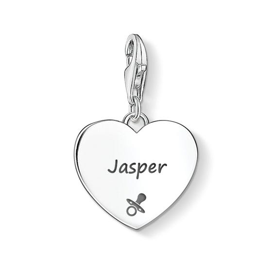 Heart Charm Engraved with Name & Dummy Symbol