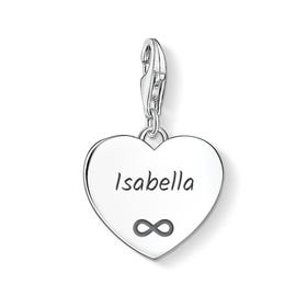 Heart Charm Engraved with Name & Infinity symbol