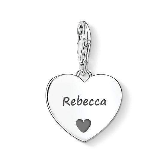 Heart Charm Engraved with Name & Heart Symbol