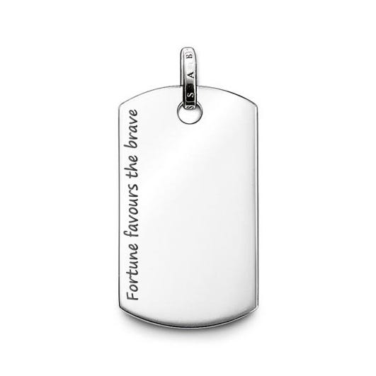 Rebel At Heart Dog Tag Engraved 'Fortune favours the brave