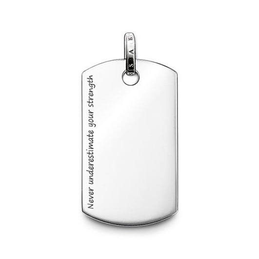 Dog Tag Engraved with 'Never underestimate your strength'