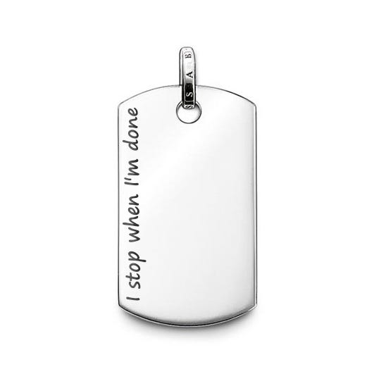 Rebel at Heart Dog Tag Engraved 'I stop when I'm done'