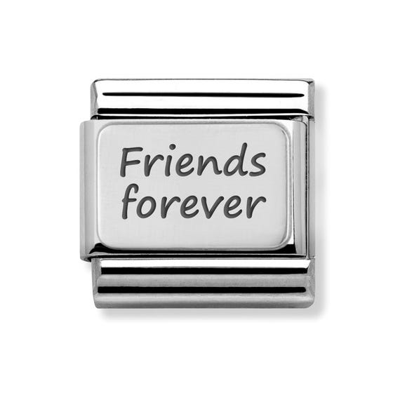 Classic Silver Charm Engraved with Friends forever