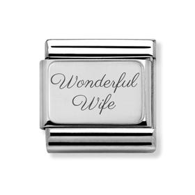 Classic Silver Charm Engraved with Wonderful Wife