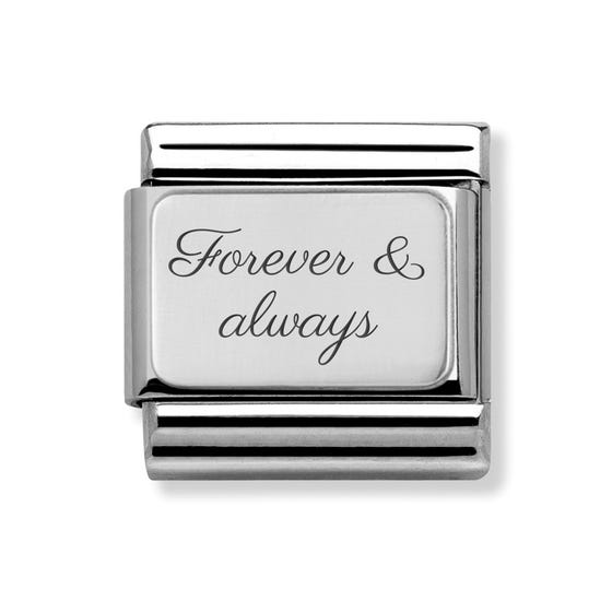 Classic Silver Charm Engraved with Forever & always