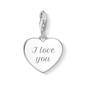 Silver Heart Charm Engraved with 'I love you'