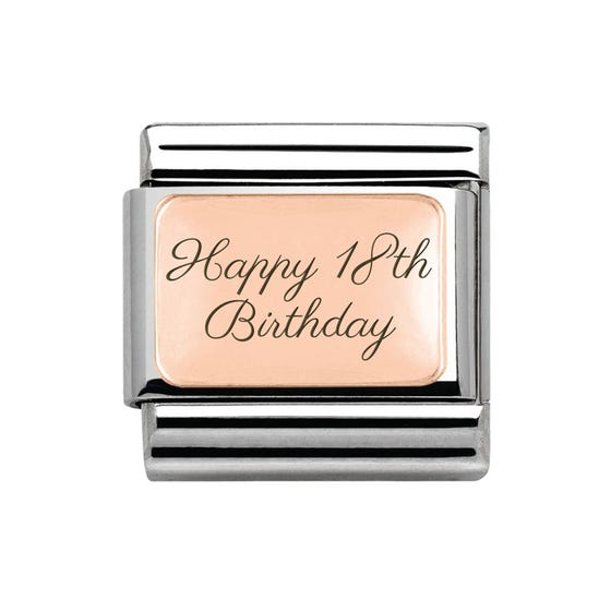 """9ct Rose Gold Classic Charm engraved """"Happy 18th Birthday"""""""