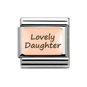 """Rose Gold Classic Charm engraved with """"Lovely Daughter"""""""