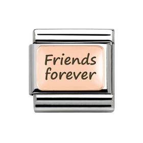 "Rose Gold Classic Charm engraved with ""Friends forever"""