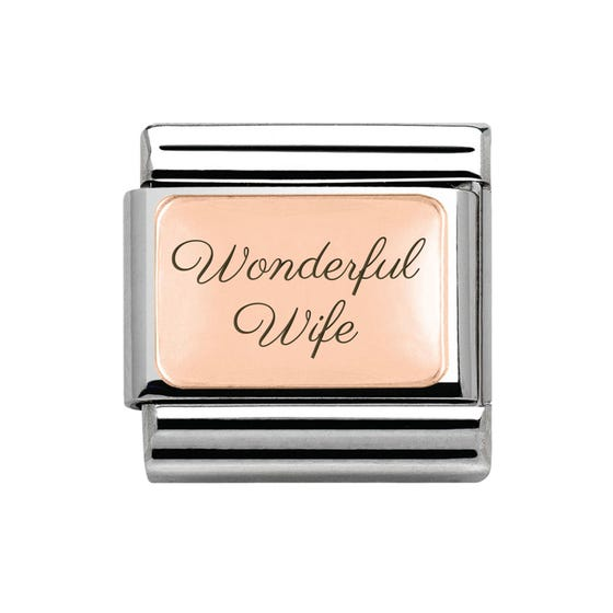 """Rose Gold Classic Charm engraved with """"Wonderful Wife"""""""