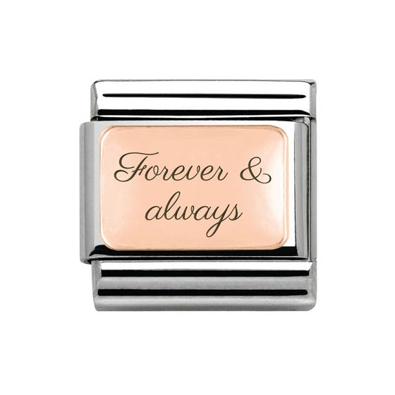 Classic Rose Gold Charm Engraved with Forever & always