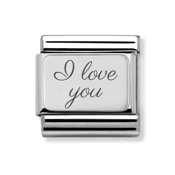 Classic Silver Charm Engraved with I Love You