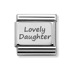 Classic Silver Charm Engraved with Lovely Daughter