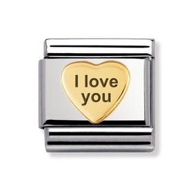 """I love you"" Stainless Steel & 18ct Gold Heart Classic Charm"