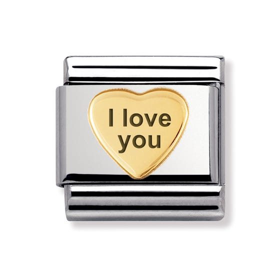 """""""I love you"""" Stainless Steel & 18ct Gold Heart Classic Charm"""