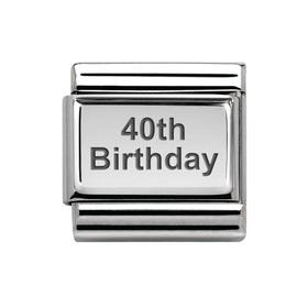 Classic Silver 40th Birthday Charm
