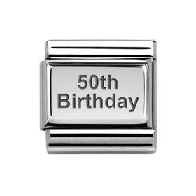 Classic Silver 50th Birthday Charm