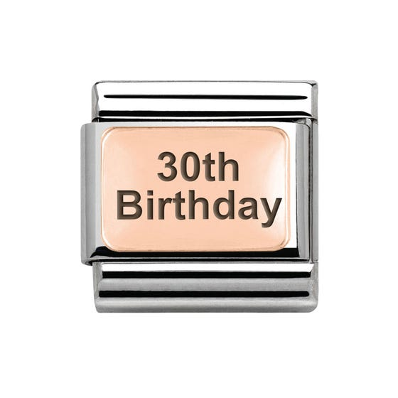 Classic Rose Gold 30th Birthday Charm