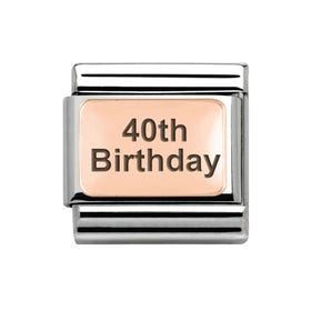 Classic Rose Gold 40th Birthday Charm