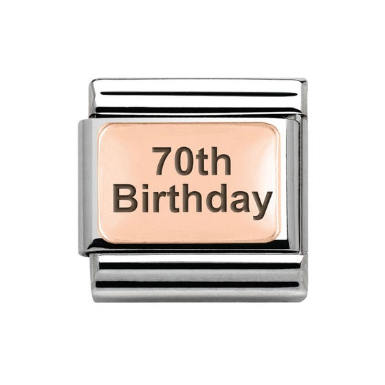 Classic Rose Gold 70th Birthday Charm