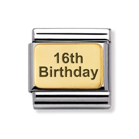 Classic Gold 16th Birthday Charm
