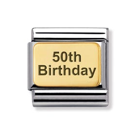 Classic Gold 50th Birthday Charm