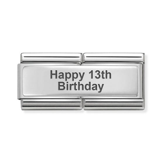 Classic Silver Happy 13th Birthday Double Charm