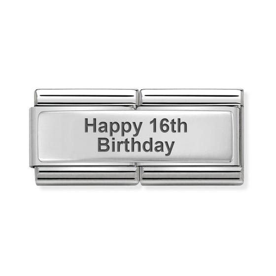 Classic Silver Happy 16th Birthday Double Charm