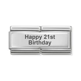 Classic Silver Happy 21st Birthday Double Charm