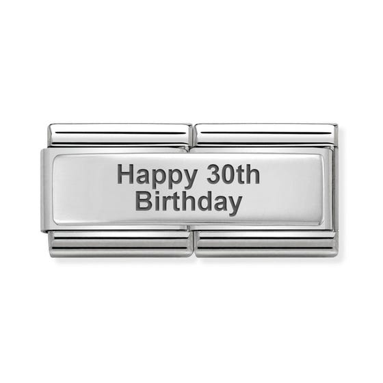 Classic Silver Happy 30th Birthday Double Charm
