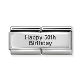 Classic Silver Happy 50th Birthday Double Charm