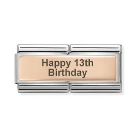 Classic Rose Gold Happy 13th Birthday Double Charm