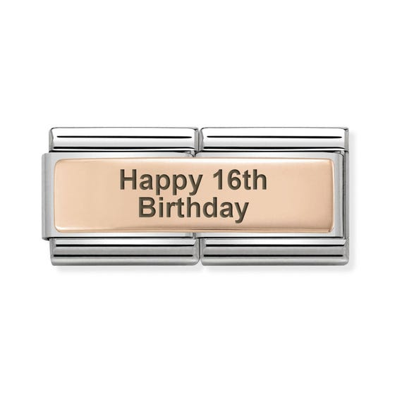 Classic Rose Gold Happy 16th Birthday Double Charm