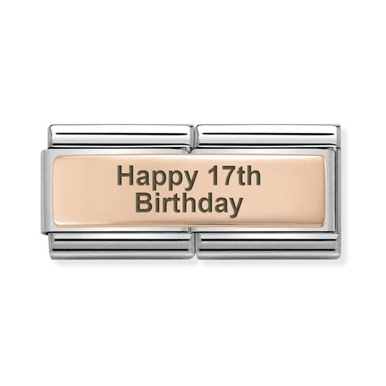 Classic Rose Gold Happy 17th Birthday Double Charm