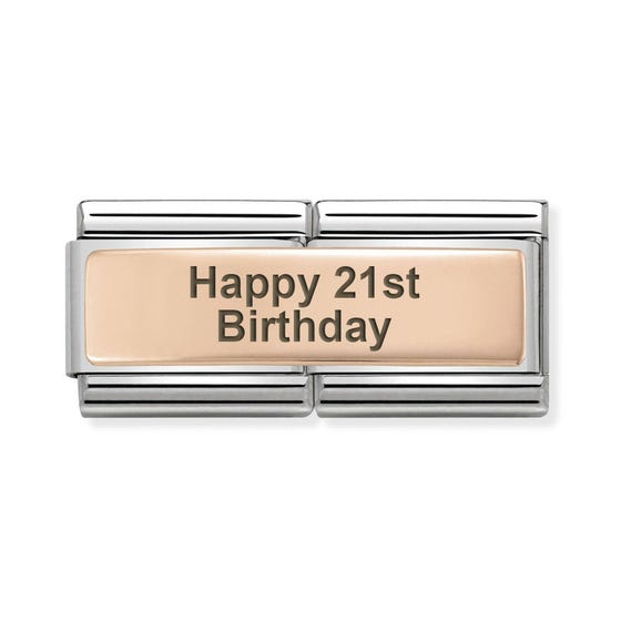 Classic Rose Gold Happy 21st Birthday Double Charm