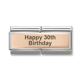 Classic Rose Gold Happy 30th Birthday Double Charm