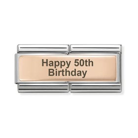 Classic Rose Gold Happy 50th Birthday Double Charm
