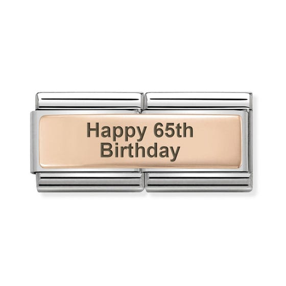 Classic Rose Gold Happy 65th Birthday Double Charm