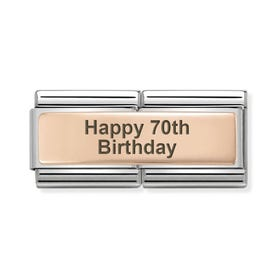Classic Rose Gold Happy 70th Birthday Double Charm