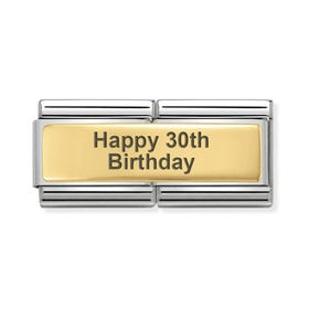 Classic Gold Happy 30th Birthday Double Charm