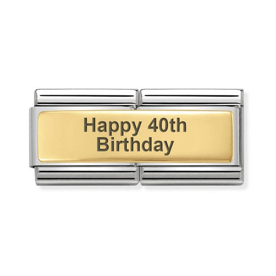 Classic Gold Happy 40th Birthday Double Charm