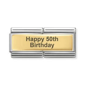 Classic Gold Happy 50th Birthday Double Charm